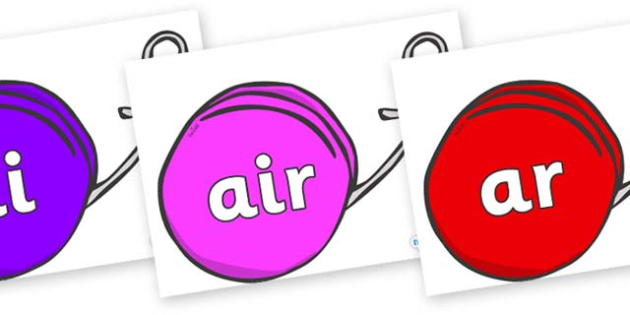 Phase 3 Phonemes on Yo Yos - Phonemes, phoneme, Phase 3, Phase three, Foundation, Literacy, Letters and Sounds, DfES, display