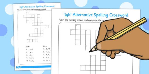 igh Alternative Spelling Crossword - crossword, igh, activity
