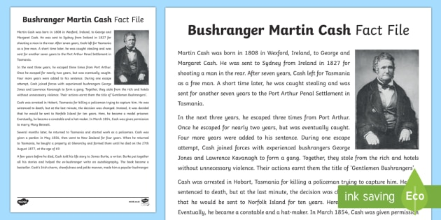 Bushranger Martin Cash Fact Sheet-Australia