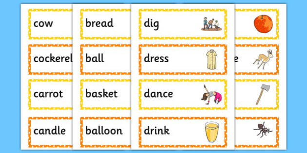 Alphabet Word Cards - alphabet words, words, alphabet, letters, images, cards