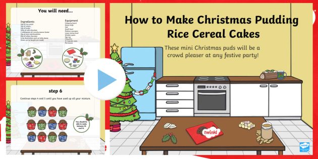 Christmas Pudding Rice Cereal Cakes Recipe PowerPoint - christmas