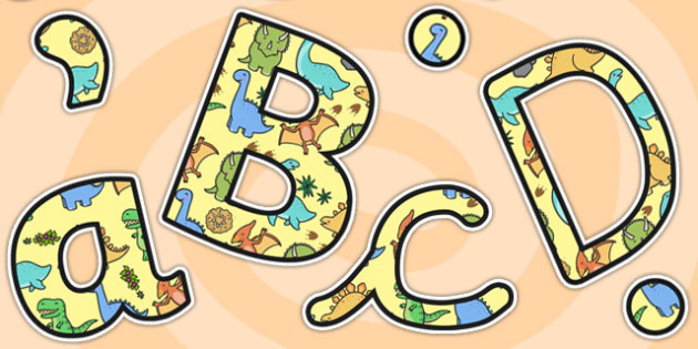 Cute Dinosaur Themed A4 Display Lettering - dinosaur, lettering