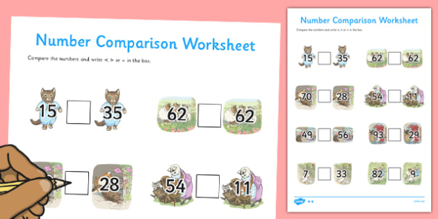 Beatrix Potter - The Tale of Tom Kitten Number Comparison Worksheets - beatrix potter, tom kitten