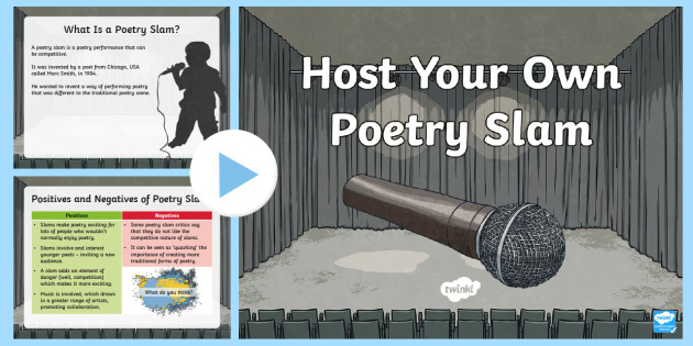 Host Your Own Poetry Slam PowerPoint - host your own poetry slam, poetry slam, enterprise, poetry, writing, rhyming, national poetry day,Sc