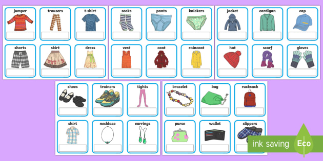 EAL Clothes Cards with English - EAL, clothes, editable, cards, editable cards, EAL cards, english, themed cards, cards with english, EAL english