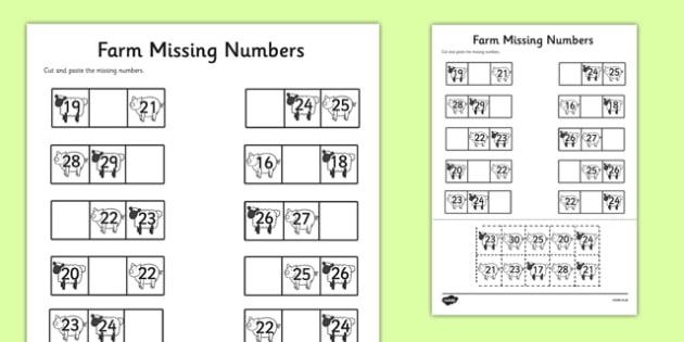 Farm Themed Missing Numbers Worksheet 20-30 - farm, missing numbers, worksheet, 20-30, missing, numbers