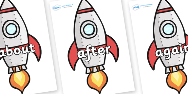KS1 Keywords on Rockets (Plain) - KS1, CLL, Communication language and literacy, Display, Key words, high frequency words, foundation stage literacy, DfES Letters and Sounds, Letters and Sounds, spelling