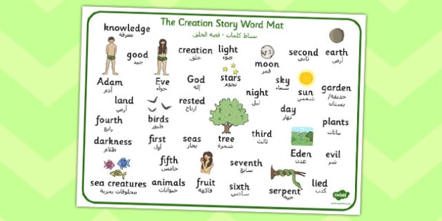 Adam and Eve Creation Story Word Mat Arabic Translation - arabic