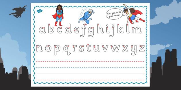 Superhero Themed Name Writing Worksheet - superhero, writing