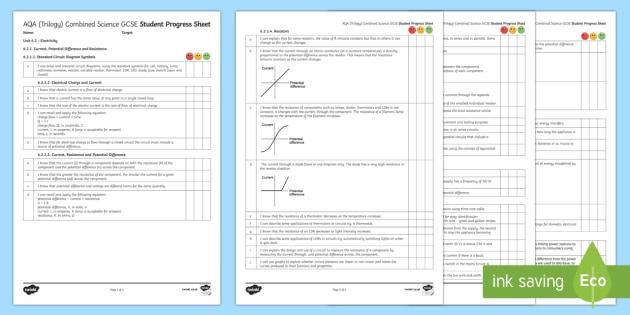 AQA (Trilogy) Unit 6.2 Electricity Student Progress Sheet - Student Progress Sheets, AQA, RAG sheet, Unit 6.2 Electricity, assessment