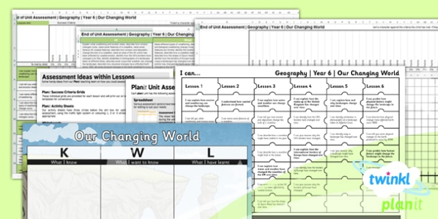 Geography: Our Changing World Year 6 Unit Assessment Pack