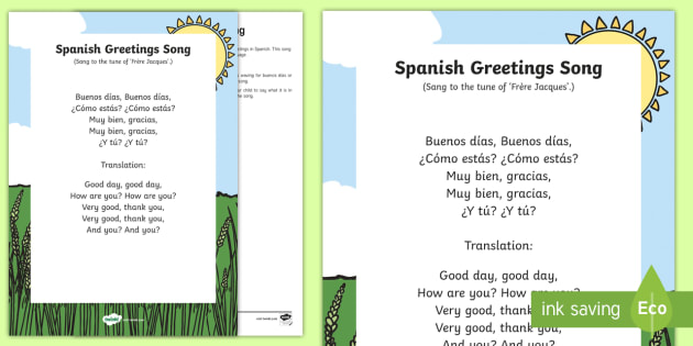 Spanish Greeting Song - foreign languages, song, Spain, learn spanish, buenos días