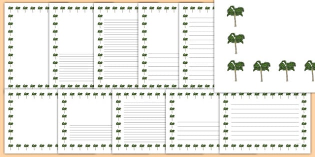 Palm Tree Themed Page Borders - palm tree, themed, page borders, page, borders
