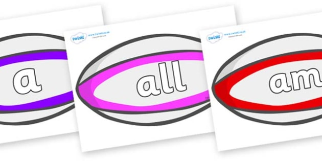 Foundation Stage 2 Keywords on Rugby Balls - FS2, CLL, keywords, Communication language and literacy,  Display, Key words, high frequency words, foundation stage literacy, DfES Letters and Sounds, Letters and Sounds, spelling