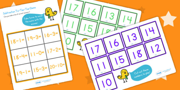 Subtraction Tic Tac Toe Game To Twenty - subtract, math games