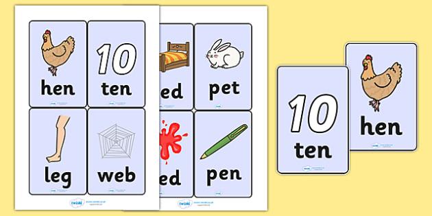 CVC Word Cards (e) - CVC, CVC word, three phoneme words, three sound words, consonant vowel consonant, words, three letter words, letters and sounds, DfES letters and sounds