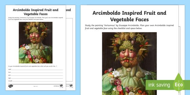Arcimboldo Inspired Fruit and Vegetable Faces Activity Sheet - artist, Arcimboldo, fruit face, vegetable face, planning, work sheet, activity sheet,Irish