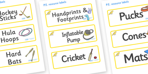 Canary Themed Editable PE Resource Labels - Themed PE label, PE equipment, PE, physical education, PE cupboard, PE, physical development, quoits, cones, bats, balls, Resource Label, Editable Labels, KS1 Labels, Foundation Labels, Foundation Stage Lab
