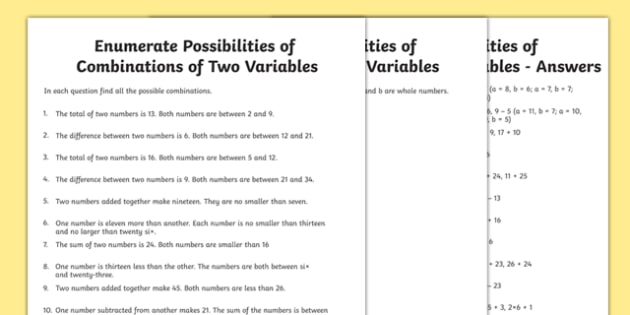 Year 6 Enumerate Possibilities of Combinations of Two Variables Activity Sheet Pack - Key Stage 2, Maths. KS2, algebra, worksheet