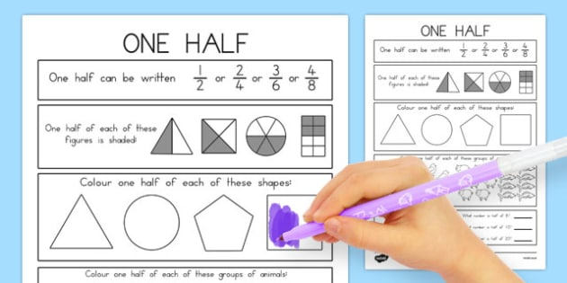 Fractions Halves Activity Sheet - australia, fractions, halves, activity, worksheet