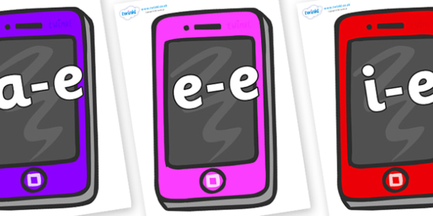 Modifying E Letters on Mobile - Modifying E, letters, modify, Phase 5, Phase five, alternative spellings for phonemes, DfES letters and Sounds