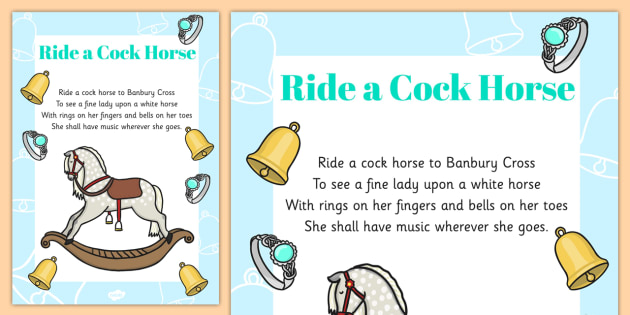 Ride a Cock Horse Nursery Rhyme Poster - nursery rhyme, poster, display