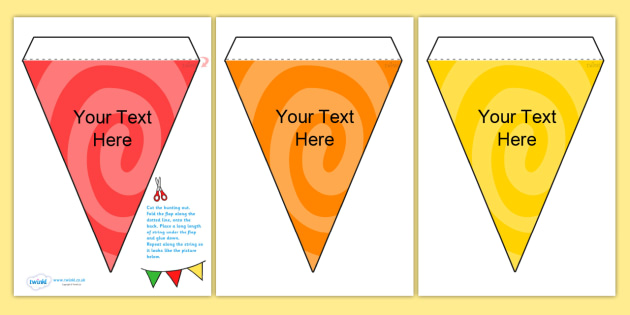 Editable Patterned Bunting Swirl - patterned bunting, bunting, themed bunting, editable bunting, edit, classroom display, display bunting, swirl bunting