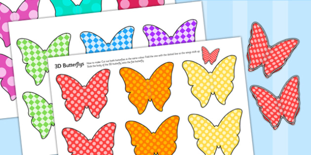 Printable Patterned Butterfly 3D Wall Decals - minibeasts, 3D