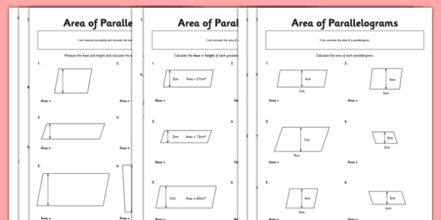 Area of Parallelograms Activity Sheet Pack parallelogram – Area of Parallelograms Worksheet