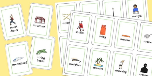 Two Syllable STR Playing Cards - sen, sound, str sound, str, two syllable, playing cards