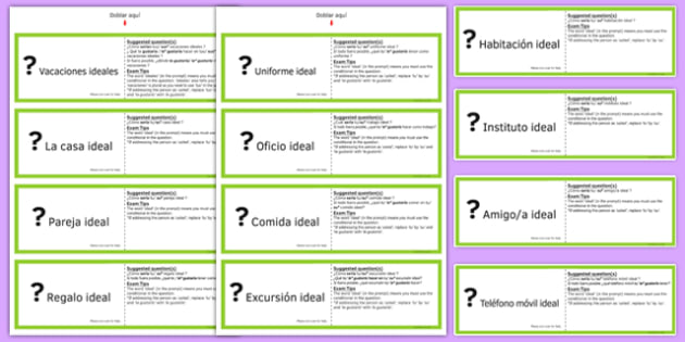 Tarjetas para Practicar Preguntas en Condicional GCSE Spanish - spanish, asking questions, preguntas, practice, speaking, cards, ideal, conditional, GCSE Spanish