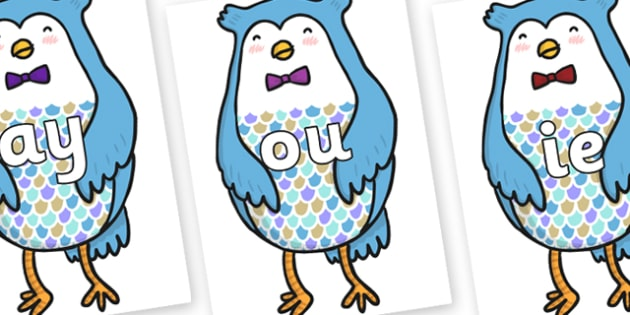 Phase 5 Phonemes on Owl - Phonemes, phoneme, Phase 5, Phase five, Foundation, Literacy, Letters and Sounds, DfES, display