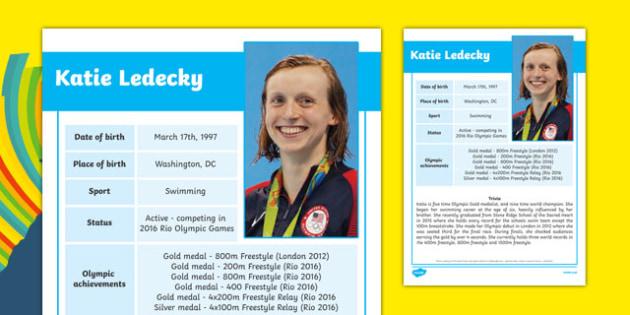 USA Olympians Katie Ledecky Fact File