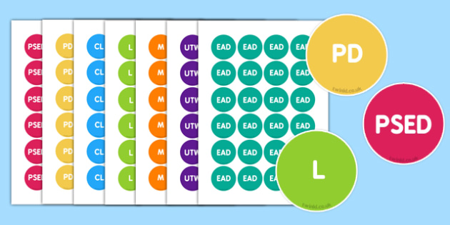 EYFS 7 Areas of Learning Stickers - eyfs, learning, stickers