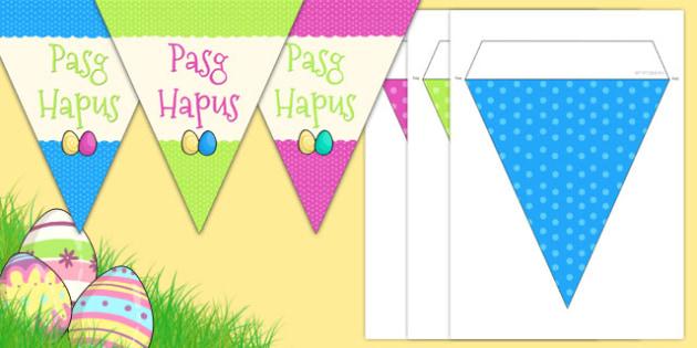 Baneri bach Parti Pasg Hapus - welsh, cymraeg, pasg, baner, pasg hapus
