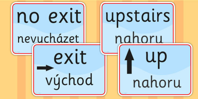 Directions and Safety Signs EAL Czech Version - languages, EAL