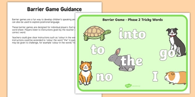 Phase 2 Tricky Words Barrier Game Activity Sheet, worksheet