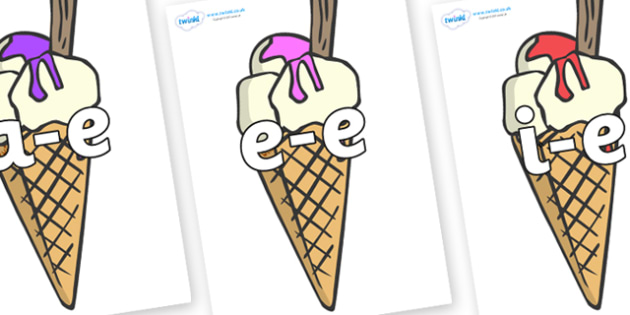 Modifying E Letters on Ice Cream Cones to Support Teaching on The Very Hungry Caterpillar - Modifying E, letters, modify, Phase 5, Phase five, alternative spellings for phonemes, DfES letters and Sounds