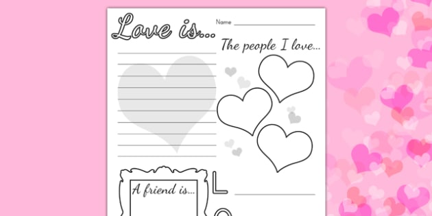 Valentines Day Worksheet - valentines day, valentines, love