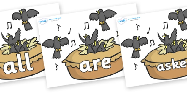 Tricky Words on Blackbirds in a Pie - Tricky words, DfES Letters and Sounds, Letters and sounds, display, words