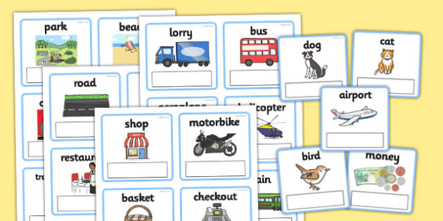 EAL Everyday Objects Out and About Editable Cards with English - EAL, everyday objects, out and about, editable cards, editable, cards, EAL cards, english