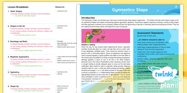 PE: Gymnastics: Shape Year 3 Unit Overview