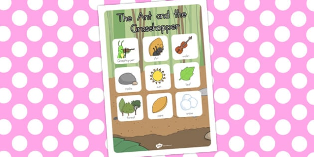 The Ant and the Grasshopper Vocabulary Poster - posters, display