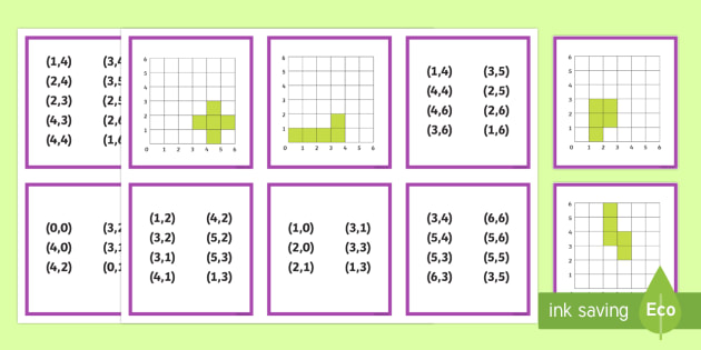 Coordinate Shapes Matching Cards - Position, direction, coordinates, co-ordinates