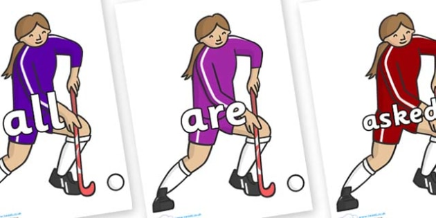 Tricky Words on Hockey Players - Tricky words, DfES Letters and Sounds, Letters and sounds, display, words