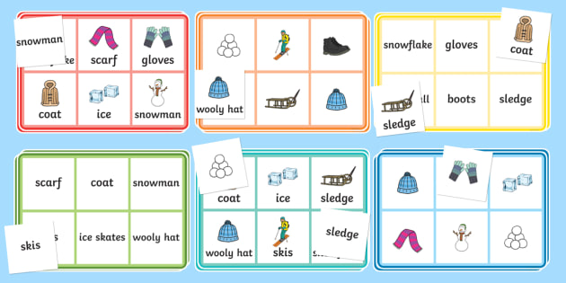 Winter Word and Pictures Bingo