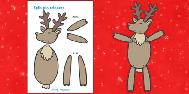 Split Pin (Reindeer) - split pin, reindeer, christmas, activity, creativity, xmas, rudolf, dancing, moving, puppets