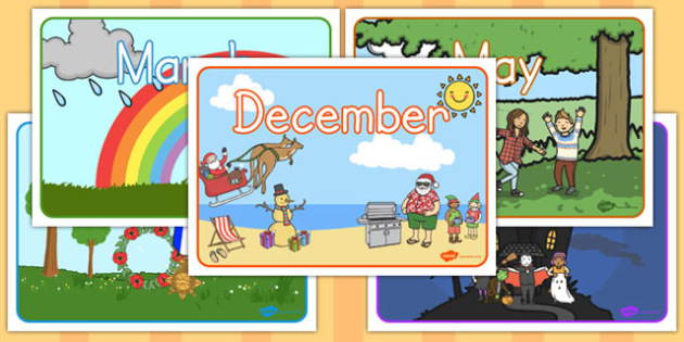 Months of the Year Display Posters - australia, months, year, display, posters