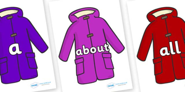 100 High Frequency Words on Coats - High frequency words, hfw, DfES Letters and Sounds, Letters and Sounds, display words