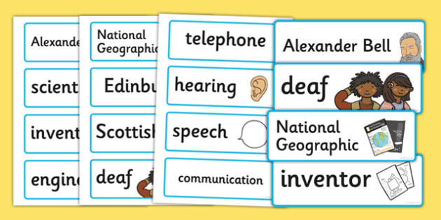 Alexander Bell Word Cards - alexander bell, word cards, cards